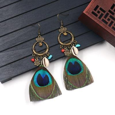 Ethnic Style Peacock Feather Shell Accessories Bohemian Earrings