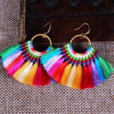 Ethnic Style Color Tassel Earrings
