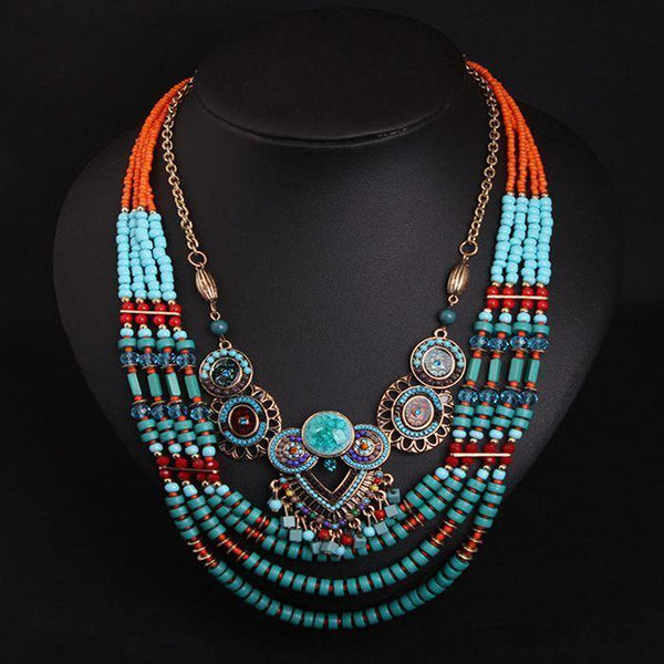 Vintage Bohemian Handmade Beaded Necklace Women's Multilayered Color Clothing Accessories Necklace