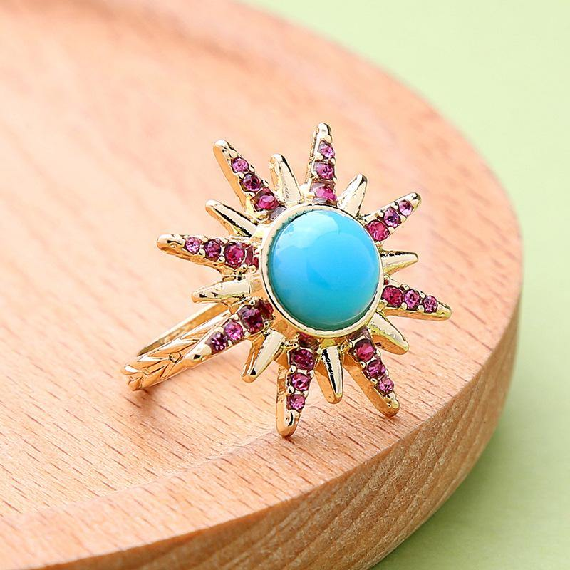 Star colorful diamond ring personalized fashion hipster ring