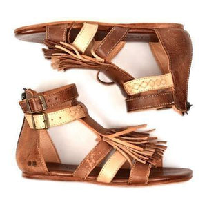 Fringed Belt Buckle Open Toe Hollow Flat Sandals