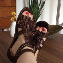 Load image into Gallery viewer, Fringed Belt Buckle Open Toe Hollow Flat Sandals