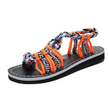 Load image into Gallery viewer, Color Matching Knot Beach Sandals Toe Sandals