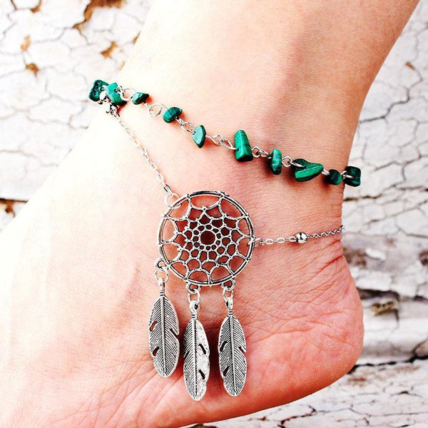 Footwear fashion irregular natural peacock turquoise openwork feather anklet