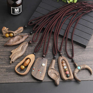 National style retro long sweater chain necklace handmade wooden pendant costume pendant