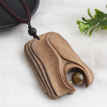 Load image into Gallery viewer, National style retro long sweater chain necklace handmade wooden pendant costume pendant