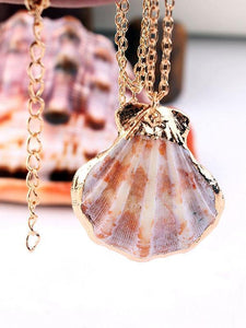 Bohemian Natural Shell Conch Scallop Clavicle Chain Necklace