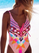 Load image into Gallery viewer, Printed piece crossover multi-line ladies swimsuit