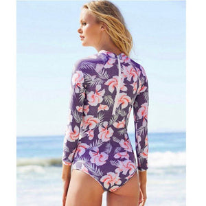 Long Sleeved Print One-piece Swimwear for female