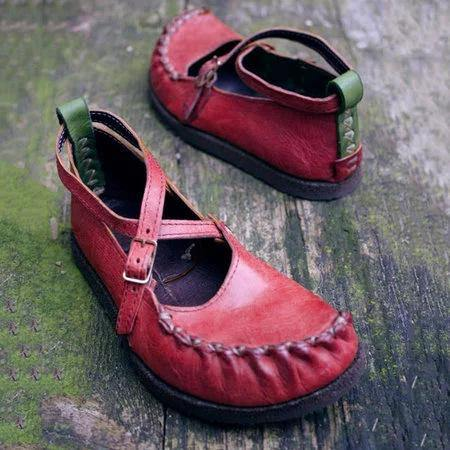 Vintage Artificial Leather  Flats Slip On Cross buckle Solid Ladies