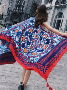 Fringed retro ethnic wind totem cotton and linen sunscreen shawl-7