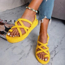 Load image into Gallery viewer, Summer woven platform flat open toe women's sandals large size
