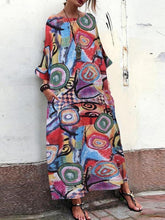 Load image into Gallery viewer, Ink Floral Print Dress Bohemian Sleeve Sleeve Skirt