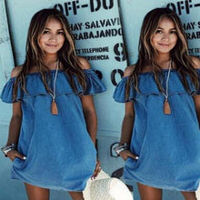 Load image into Gallery viewer, Imitation Denim Collar Mini Dress