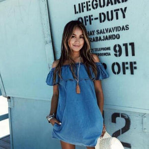 Imitation Denim Collar Mini Dress