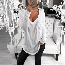 Load image into Gallery viewer, Sexy V-neck Loose Pocket Long Sleeved T Shirt