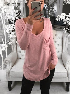 Sexy V-neck Loose Pocket Long Sleeved T Shirt