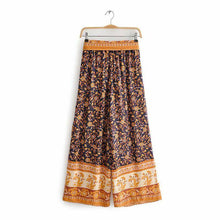 Load image into Gallery viewer, High Waistband Wide Tube Leg Pants Bohemian Print Waist Trousers