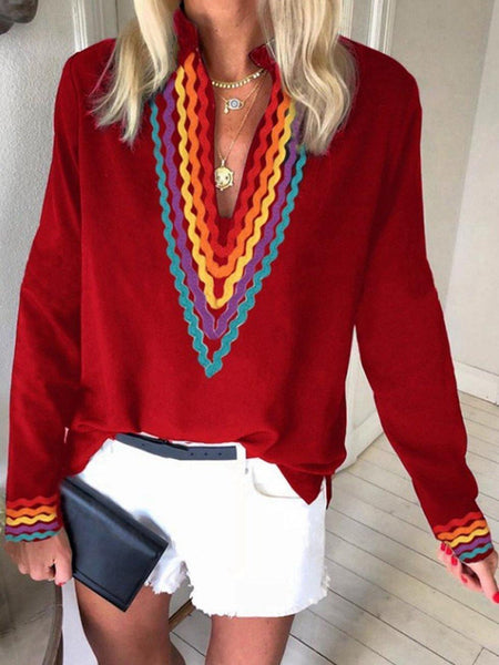 Ethnic Style Striped Long Sleeved Shirt Top