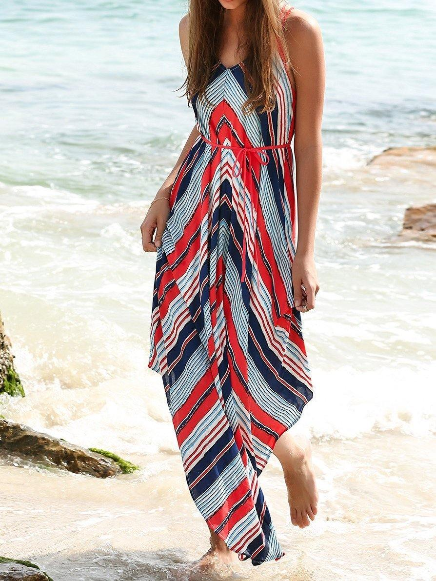 Summer Spaghetti Strap Print Beach Maxi Dress