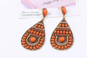 Bohemian fashion personality retro colorful rice beads handmade earrings