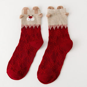 3 Pairs Christmas Winter Warm Deer Elk Xmas Socks