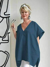 Load image into Gallery viewer, Loose V-neck Solid Color Large Size Bat Sleeve Cotton And Linen Tops Blouse