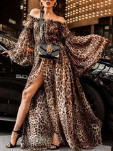Load image into Gallery viewer, Leopard Print Off Shoulder Split Boho Maxi Dress