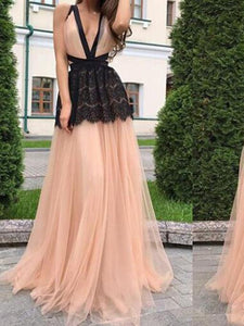 Deep V Neck Backless Splice Evening Maxi Dress
