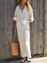 Load image into Gallery viewer, Solid Color Side Split Maxi Long Dress
