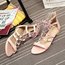 Load image into Gallery viewer, 2018 Summer Open Toe Cross Strap Flat Sandals