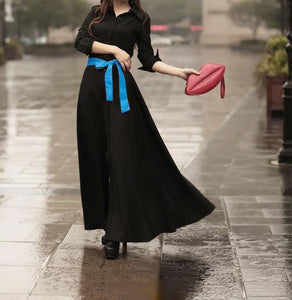 Lapel Neck Button Evening Gown Maxi Long Dress