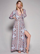 Load image into Gallery viewer, Bohemia Printed V-neck Maxi Dress