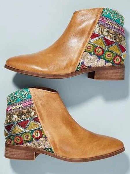 Casual Bohemian Low-heel Boots with Zipper