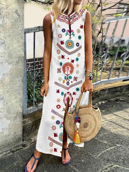 Boho Floral Summer Sleeveless Split Maxi Dress