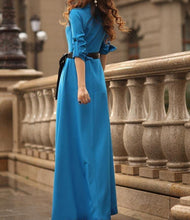 Load image into Gallery viewer, Lapel Neck Button Evening Gown Maxi Long Dress