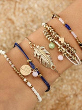 Load image into Gallery viewer, Ethnic Style Creative Alloy Rice Beads Love Leaves Feathers Multi-Layer Bracelet Cord Woven Bracelet Set Of 5