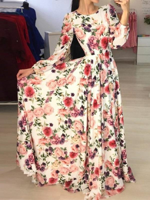 Floral Long Sleeve Maxi Mopping Dress