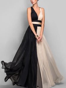 Two-color Sleeveless V-Neck Maxi Evening Dress
