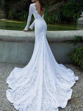 Load image into Gallery viewer, White Lace Long Sleeve Backless Full Length Maxi Dress