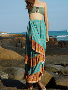 Summer Beach Falbala Waves Loose High Waist Bust Skirt