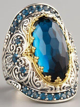 Load image into Gallery viewer, Bohemian Classic Carved Sapphire Zircon Ring