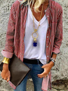 Stripe Long Sleeve Casual Outwear T Shirt