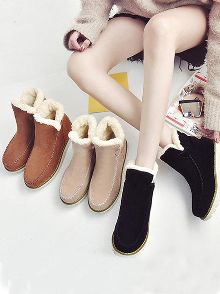 Casual Winter Solid Color Warm Snow Boots Shoes