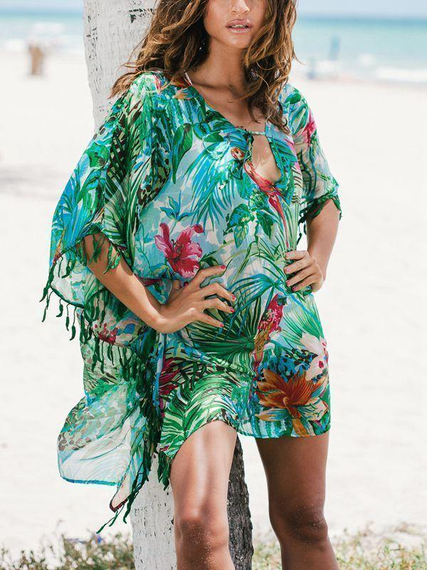 Chiffon Green Flower Loose Beach Sunscreen Cover-Up