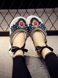 Bohemian Slipper Jewelry Vintage National Clip Toe Shoes