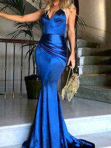 Deep V Neck Spaghetti Strap Mermaid Evening Gown Maxi Dress