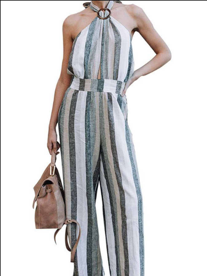 2018 Halter Stripe Wide Leg Pants Jumpsuit