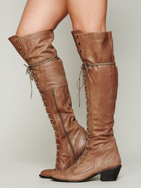 Autumn Winter Bandage Thigh-high Boots Shoes