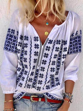 Load image into Gallery viewer, Bohemian V Neck Casual Plus Size Blouse Tops